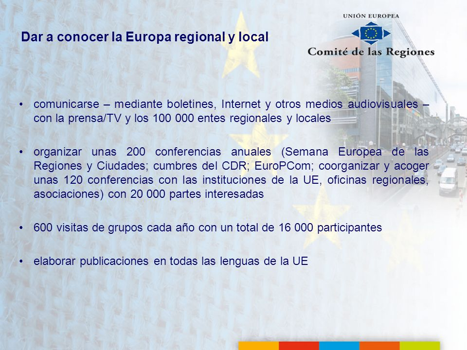 Dar a conocer la Europa regional y local