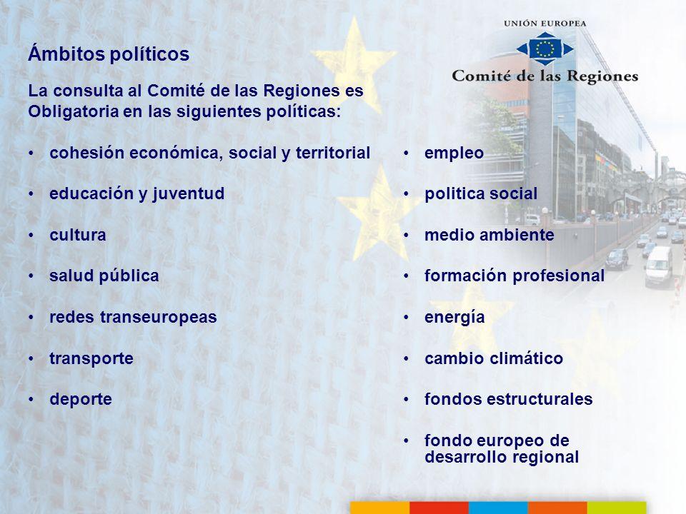 Ámbitos políticos La consulta al Comité de las Regiones es