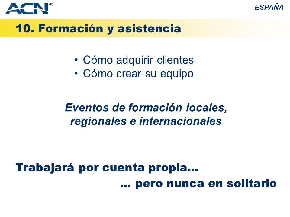 Eventos de formación locales, regionales e internacionales