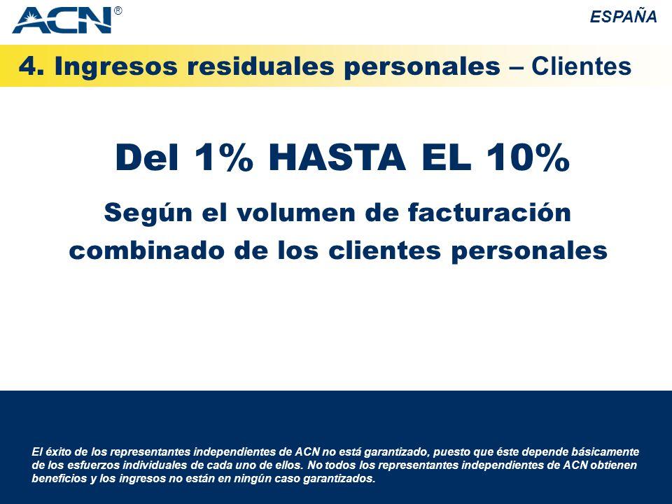 Del 1% HASTA EL 10% 4. Ingresos residuales personales – Clientes