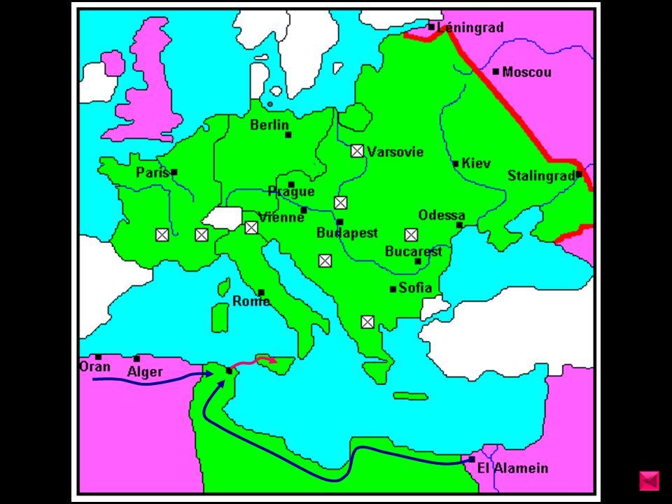 Mayo 1943 Rommel desaloja el Norte de África y se refugia en Italia, ante la presión De Montgomery desde Egipto, y Patton desde Argelia.