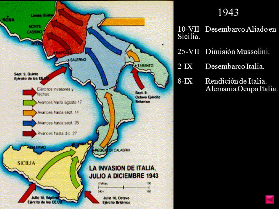 1943 10-VII Desembarco Aliado en Sicilia. 25-VII Dimisión Mussolini.
