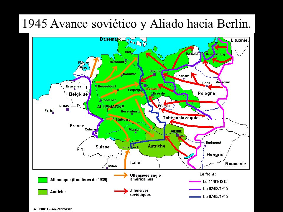 1945 Avance soviético y Aliado hacia Berlín.