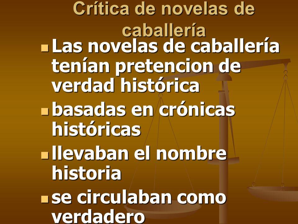 Crítica de novelas de caballería