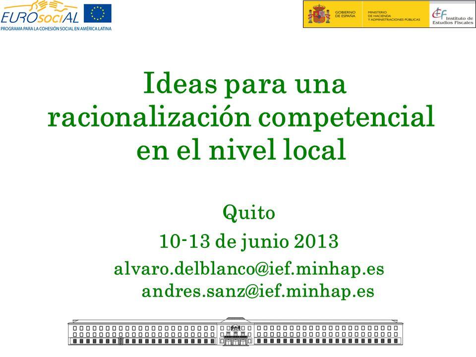 Ideas para una racionalización competencial en el nivel local