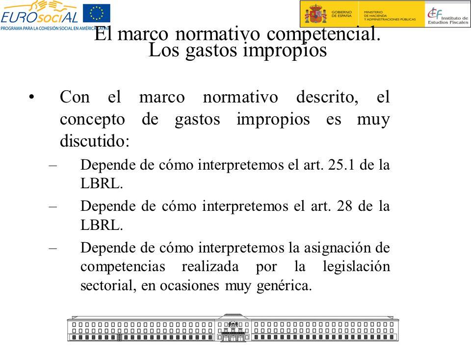 El marco normativo competencial. Los gastos impropios