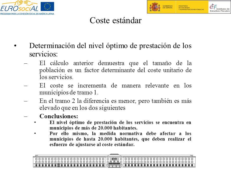Coste estándarDeterminación del nivel óptimo de prestación de los servicios: