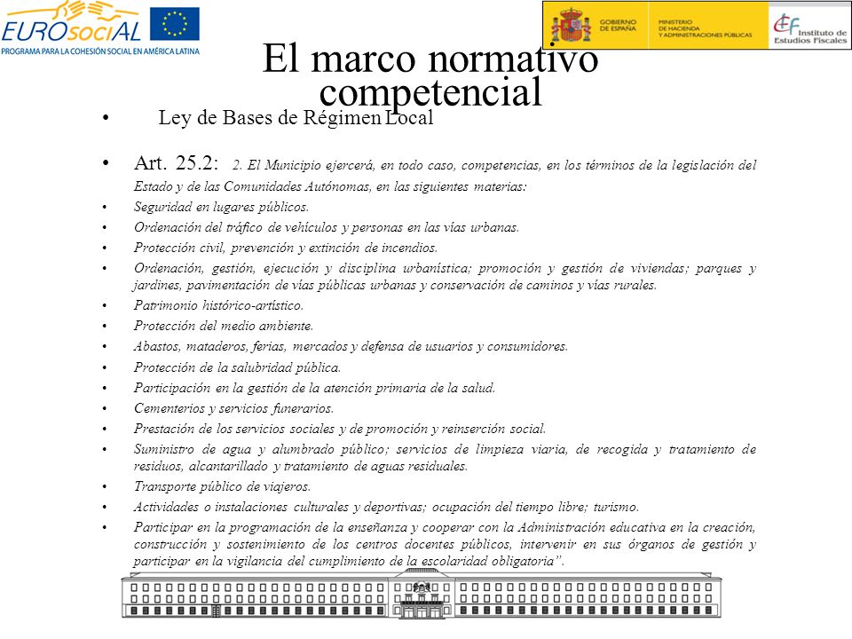 El marco normativo competencial