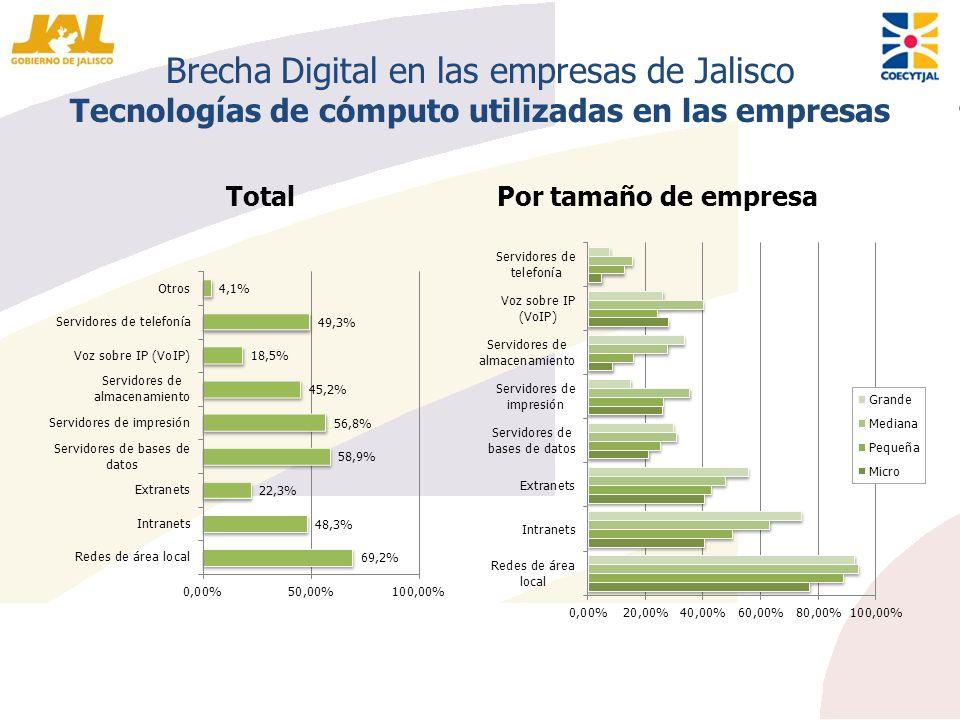 Brecha Digital en las empresas de Jalisco Tecnologías de cómputo utilizadas en las empresas