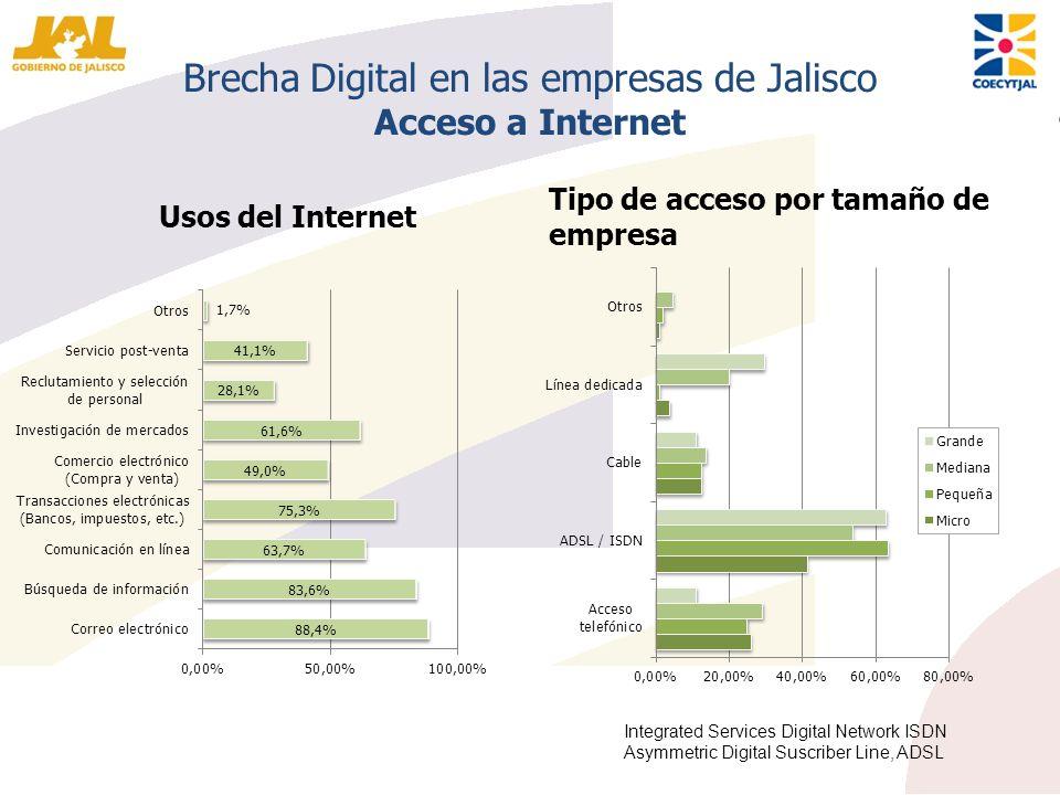 Brecha Digital en las empresas de Jalisco Acceso a Internet