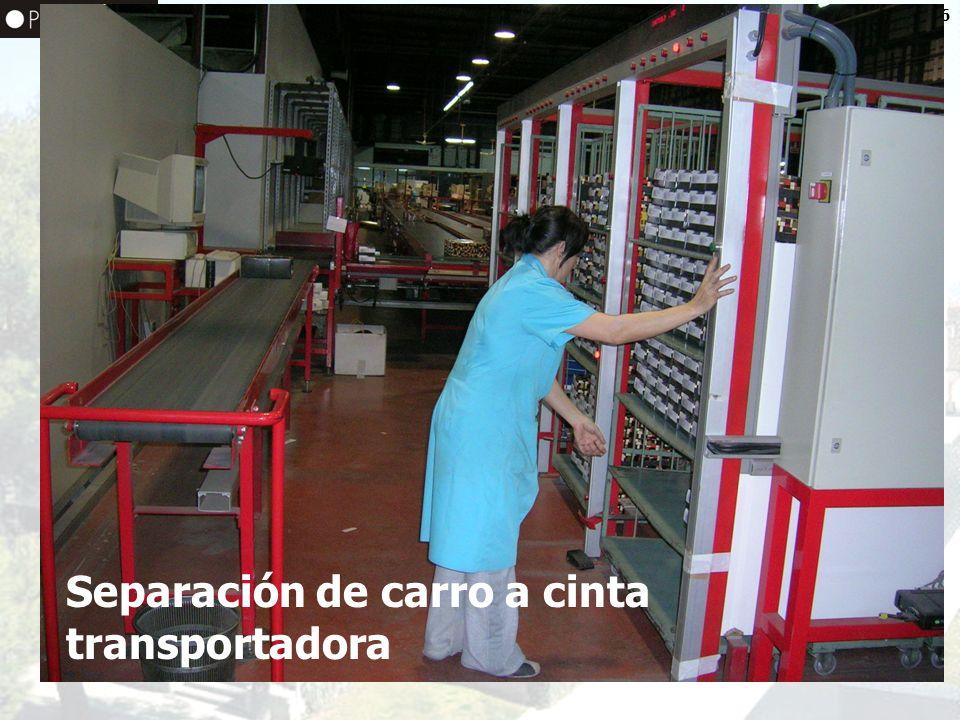 Separación de carro a cinta transportadora