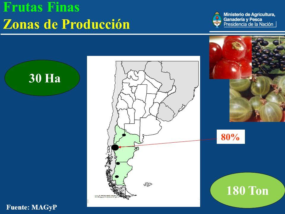 Frutas Finas Zonas de Producción 180 Ton 30 Ha 80%