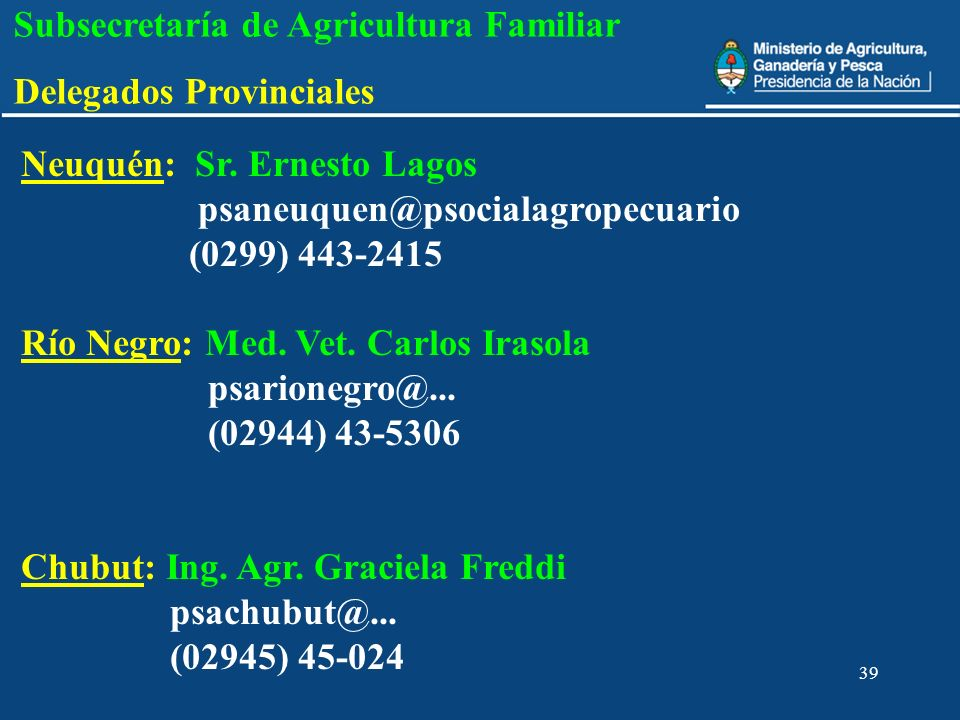 Subsecretaría de Agricultura Familiar Delegados Provinciales