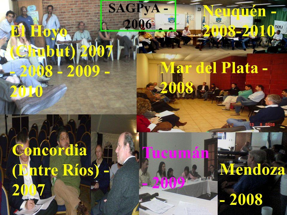 Concordia (Entre Ríos) - 2007 Tucumán - 2009 Mendoza - 2008