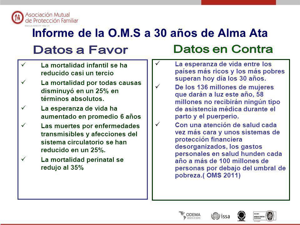 Informe de la O.M.S a 30 años de Alma Ata