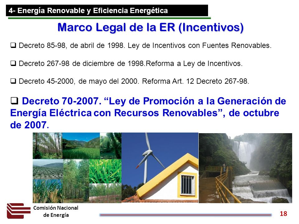 Marco Legal de la ER (Incentivos)
