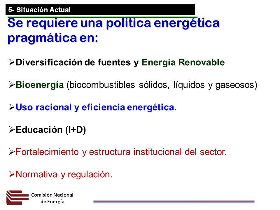 Se requiere una politica energética pragmática en: