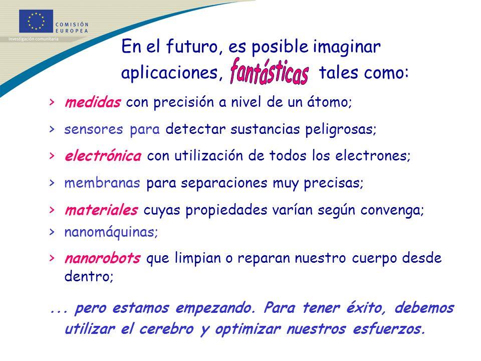 En el futuro, es posible imaginar aplicaciones, tales como: