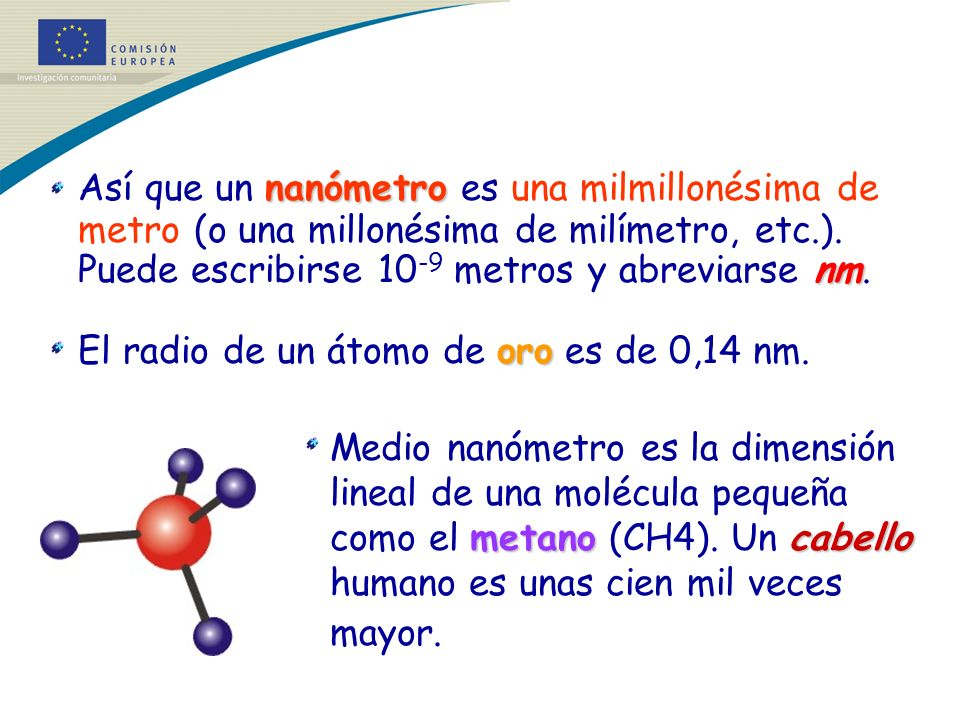 Así que un nanómetro es una milmillonésima de metro (o una millonésima de milímetro, etc.). Puede escribirse 10-9 metros y abreviarse nm.