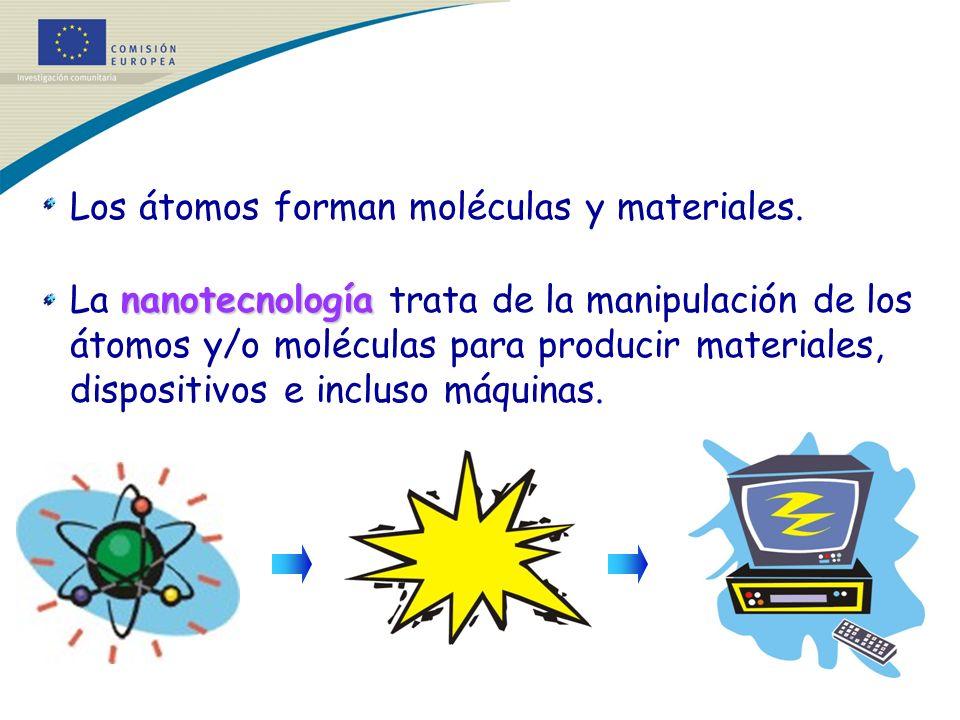 Los átomos forman moléculas y materiales.