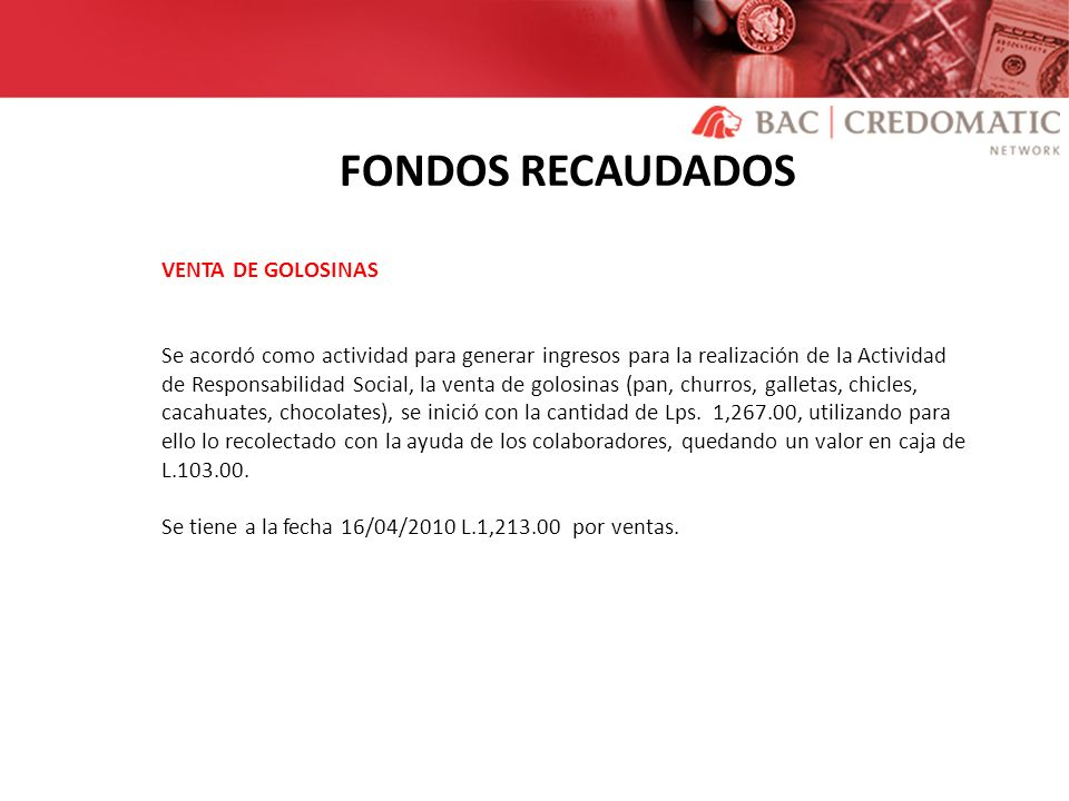 FONDOS RECAUDADOS VENTA DE GOLOSINAS