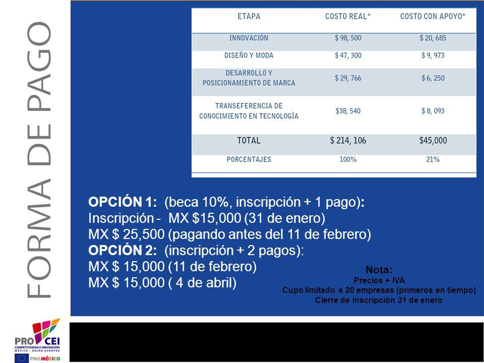 OPCIÓN 1: (beca 10%, inscripción + 1 pago): Inscripción - MX $15,000 (31 de enero) MX $ 25,500 (pagando antes del 11 de febrero) OPCIÓN 2: (inscripción + 2 pagos): MX $ 15,000 (11 de febrero) MX $ 15,000 ( 4 de abril)