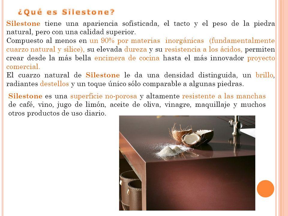 ¿Qué es Silestone Silestone tiene una apariencia sofisticada, el tacto y el peso de la piedra natural, pero con una calidad superior.