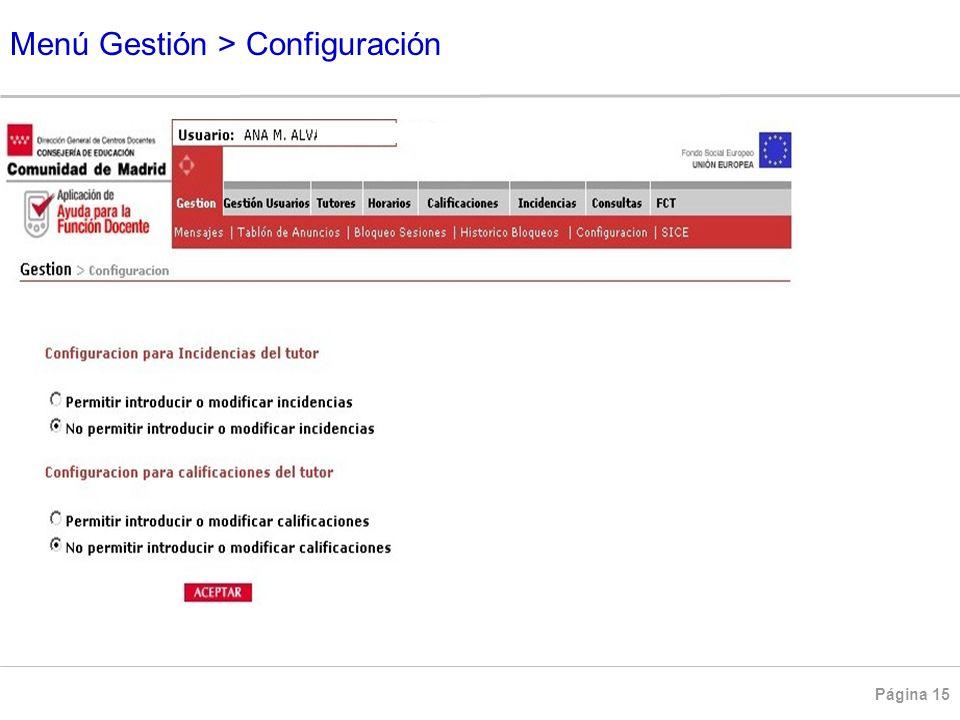 Menú Gestión > Configuración