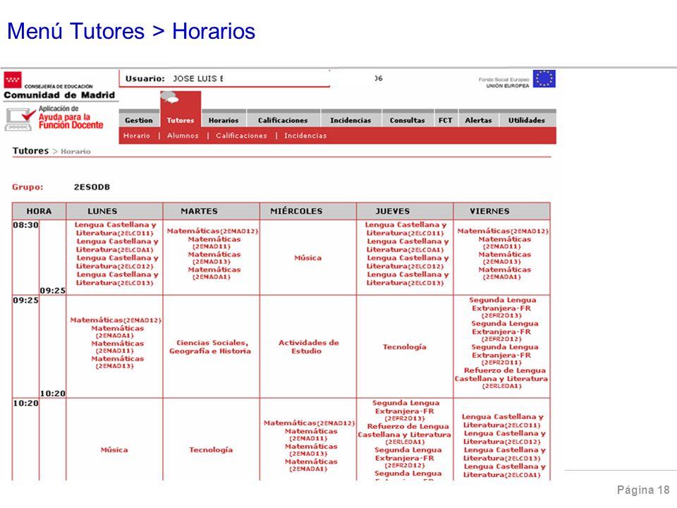 Menú Tutores > Horarios