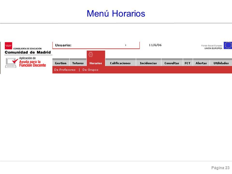 Menú Horarios HORARIOS