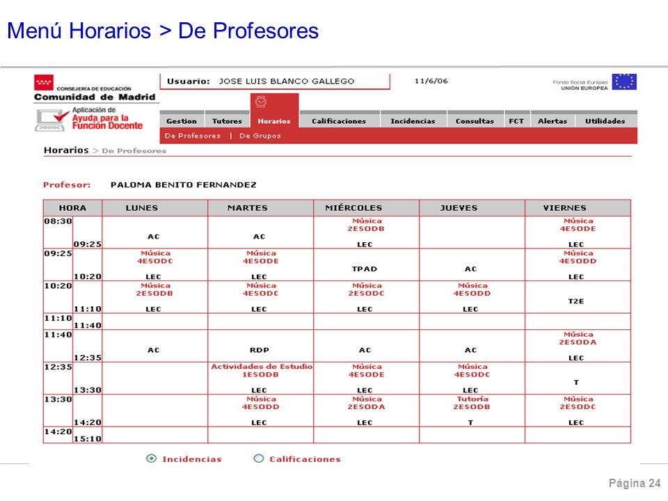 Menú Horarios > De Profesores