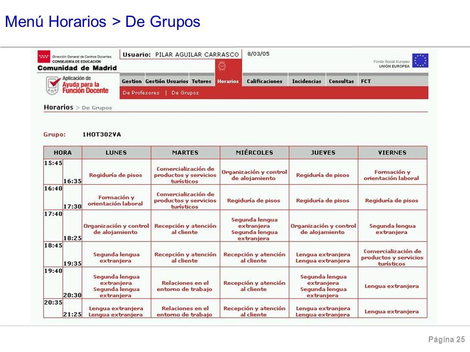 Menú Horarios > De Grupos