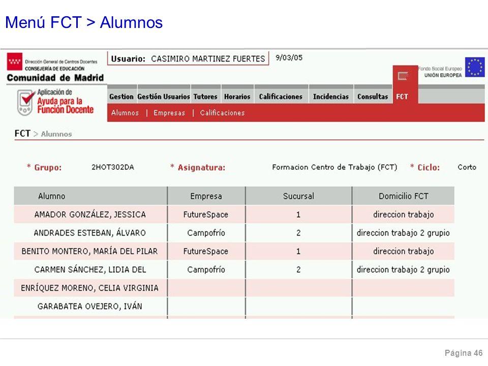 Menú FCT > Alumnos