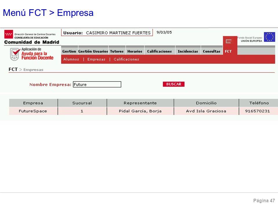 Menú FCT > Empresa