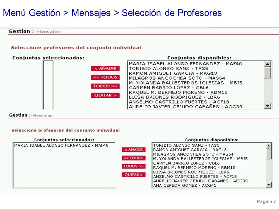 Menú Gestión > Mensajes > Selección de Profesores