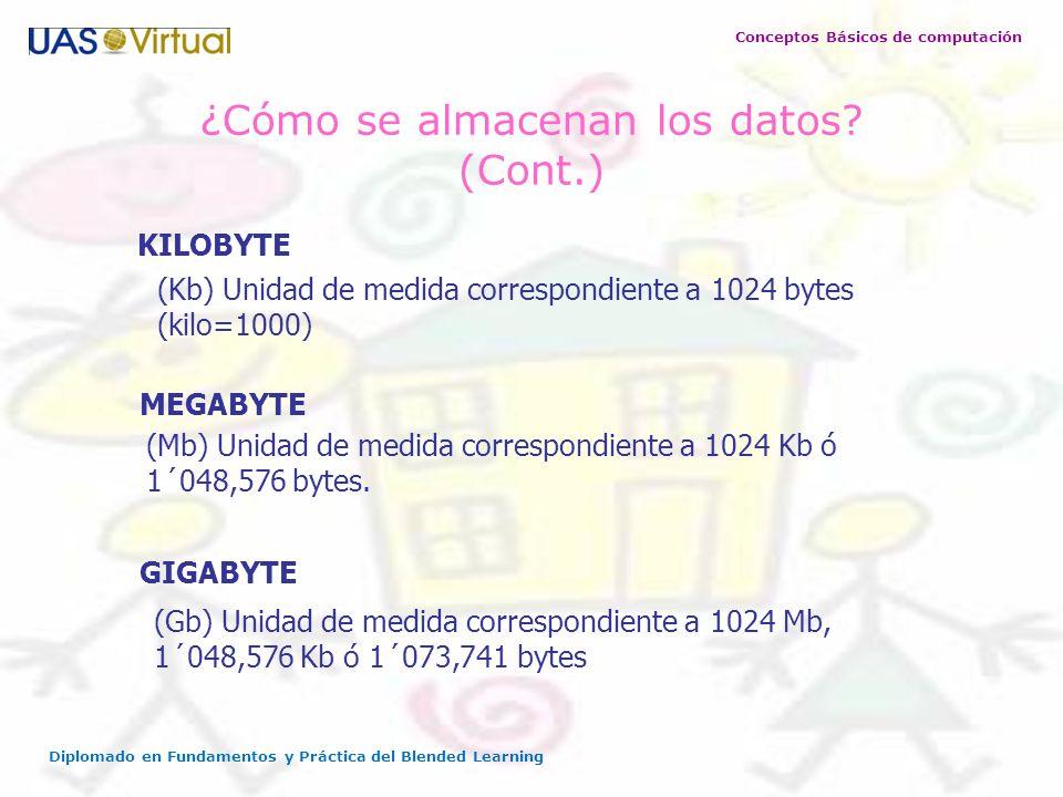 ¿Cómo se almacenan los datos (Cont.)