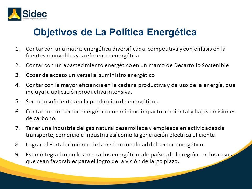 Objetivos de La Política Energética
