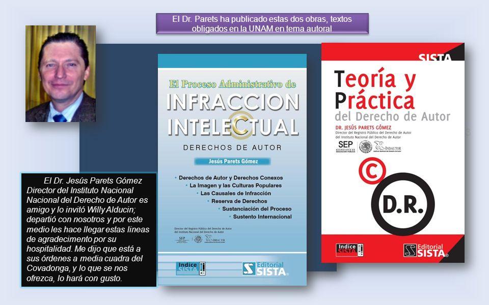 El Dr. Parets ha publicado estas dos obras, textos obligados en la UNAM en tema autoral