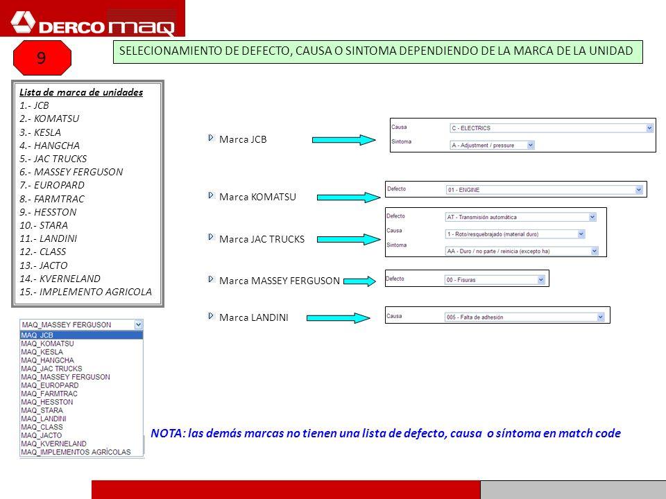 9SELECIONAMIENTO DE DEFECTO, CAUSA O SINTOMA DEPENDIENDO DE LA MARCA DE LA UNIDAD. Lista de marca de unidades.