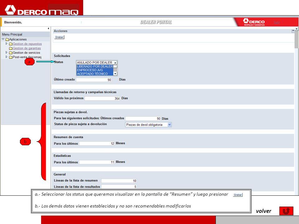 ab. a.- Seleccionar los status que queremos visualizar en la pantalla de Resumen y luego presionar.