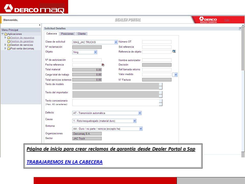 Página de inicio para crear reclamos de garantía desde Dealer Portal a Sap