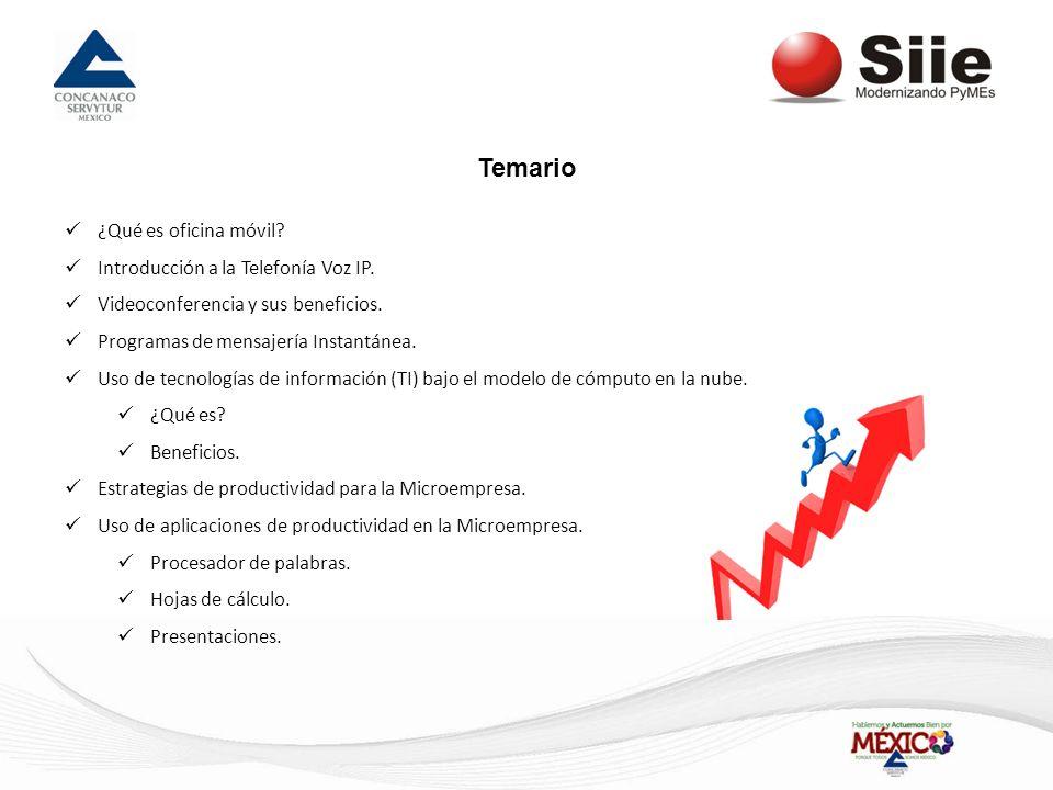Temario ¿Qué es oficina móvil Introducción a la Telefonía Voz IP.