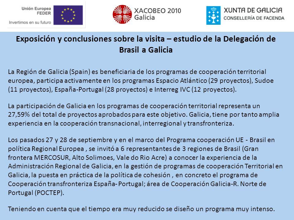Exposición y conclusiones sobre la visita – estudio de la Delegación de Brasil a Galicia