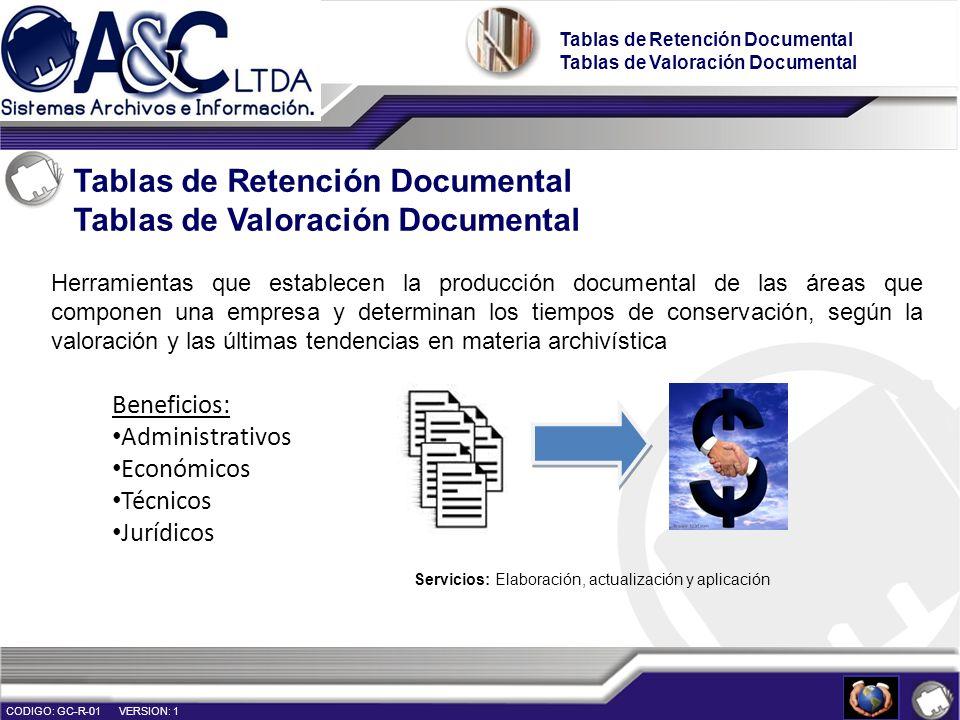 Tablas de Retención Documental Tablas de Valoración Documental