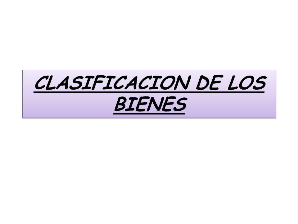 CLASIFICACION DE LOS BIENES
