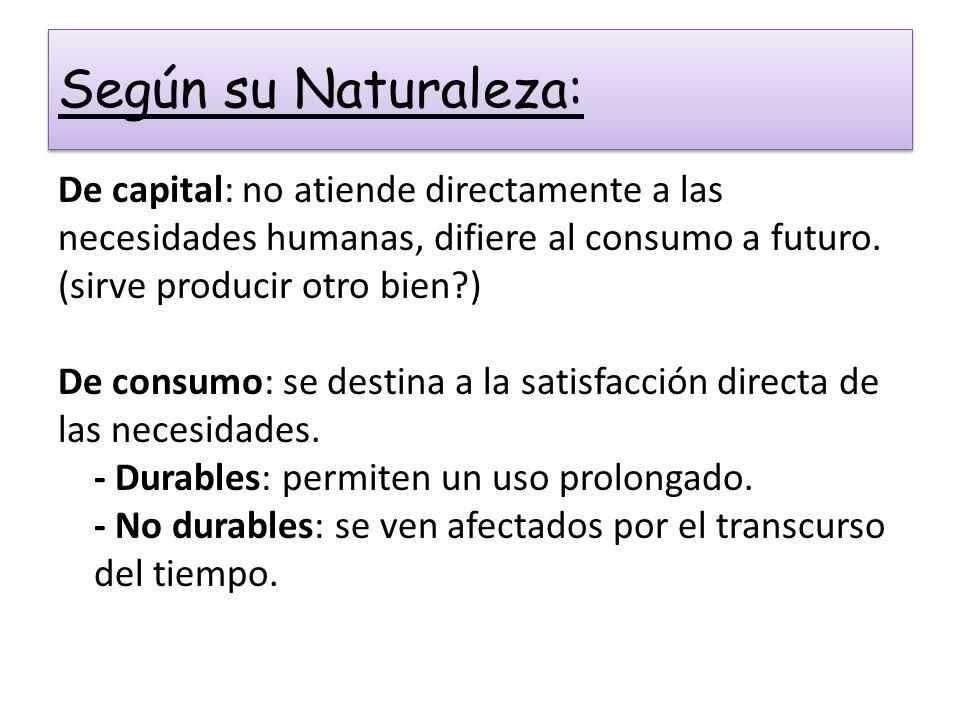 Según su Naturaleza: De capital: no atiende directamente a las