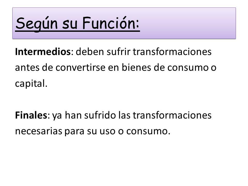 Según su Función: Intermedios: deben sufrir transformaciones