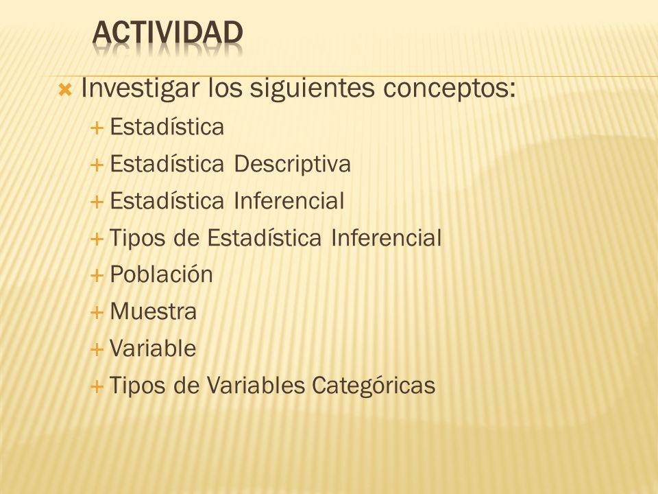 ACTIVIDAD Investigar los siguientes conceptos: Estadística
