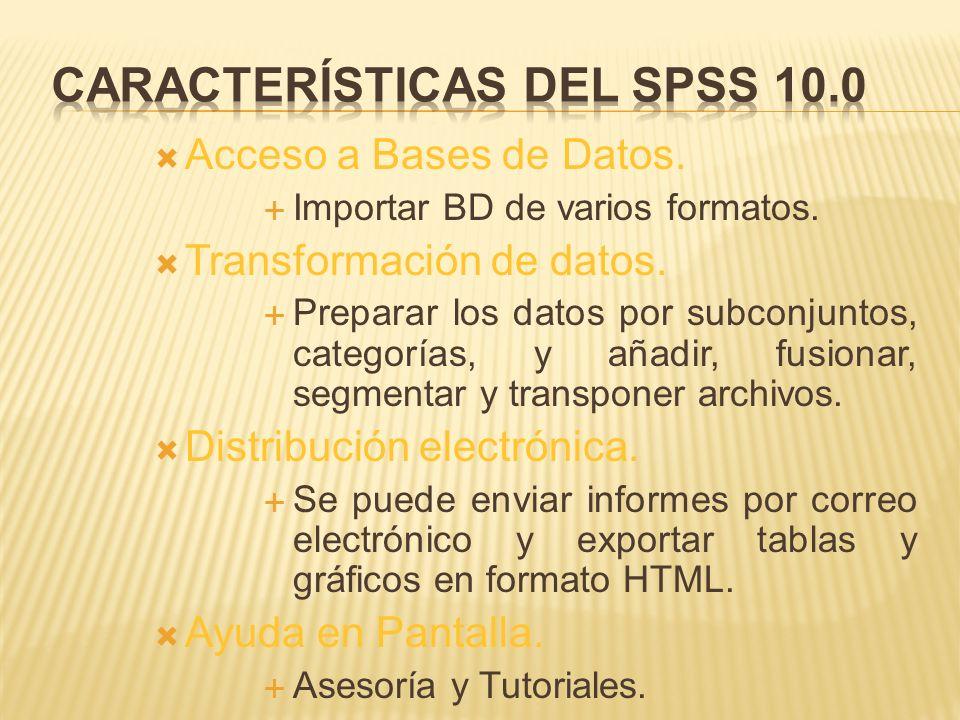Características del SPSS 10.0