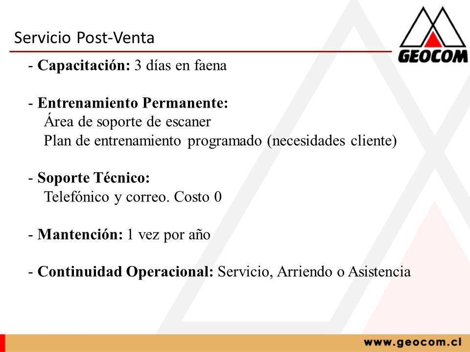 Servicio Post-Venta Capacitación: 3 días en faena